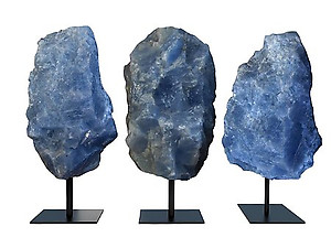Blue Calcite Rough on Base - Large
